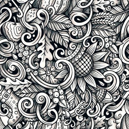 かわいい漫画は落書き手描かれた秋シームレス パターンです。オブジェクトの背景の多くの詳細。無限面白いラスター図。ライン アートを背景に秋