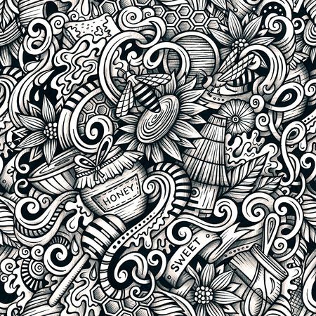 手描き漫画は落書き蜂蜜シームレス パターンです。詳細は、オブジェクトのラスター背景の多くが付いてライン アート