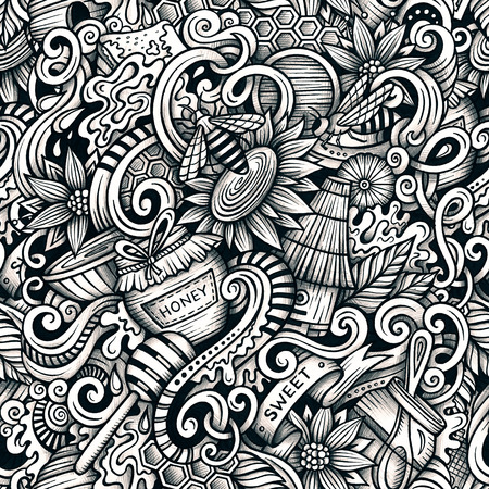 Cartoon hand-drawn doodles Honey seamless pattern. Line art detailed, with lots of objects raster background