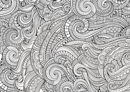 Patrón Abstracto Para Colorear Libro. Étnico, Floral, Retro, Doodle ...