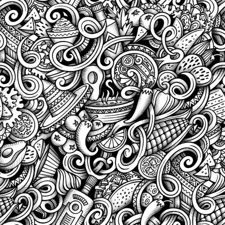 Cartoon hand getekende Mexicaans doodles graphics naadloos patroon. Gedetailleerd, met veel objecten raster tekenen achtergrond Stockfoto