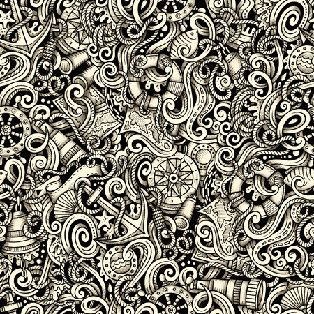 detailed: Cartoon hand drawn nautical doodles seamless pattern. Detailed graphic, with lots of objects raster drawing background Stock Photo