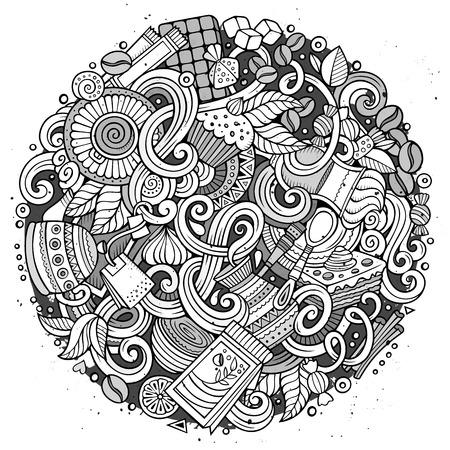手描き漫画は落書きカフェ、コーヒー ショップの図です。詳細は、オブジェクトのベクトルのデザインの背景の多くのライン アート  イラスト・ベクター素材