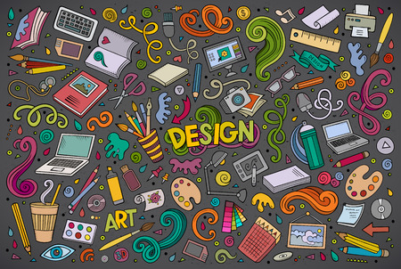 objects: Colorful vector hand drawn doodle cartoon set of design theme items, objects and symbols