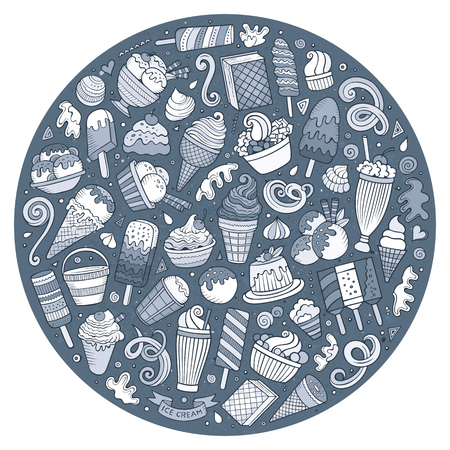 composition art: Line art vector hand drawn set of Ice Cream cartoon doodle objects, symbols and items. Round composition