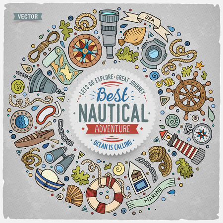 Colorful vector hand drawn set of Nautical cartoon doodle objects, symbols and items. Round frame composition Vector Illustration