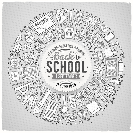 school computer: Line art vector hand drawn set of School cartoon doodle objects, symbols and items. Round frame composition