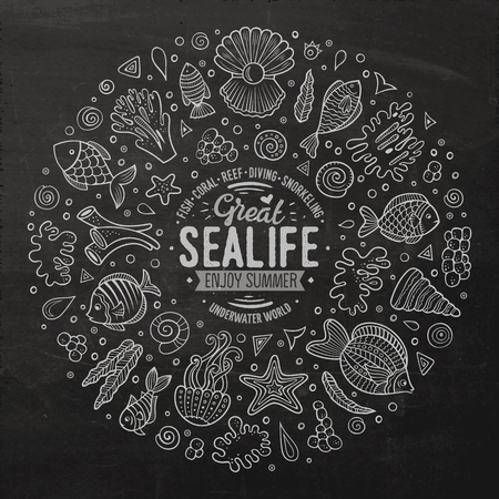 sealife: Chalkboard vector hand drawn set of Sealife cartoon doodle objects, symbols and items. Round frame composition Illustration