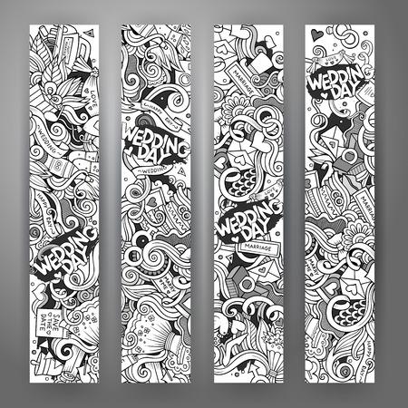 Cartoon niedlichen Vektor Hand gezeichneten Kritzeleien Hochzeit Corporate Identity. 4 vertikale Banner-Design. Templates