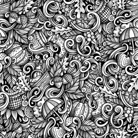 かわいい漫画は落書き手描かれた秋シームレス パターンです。詳細は、オブジェクトの背景の多くをトレースします。無限の面白いベクトル図です  イラスト・ベクター素材