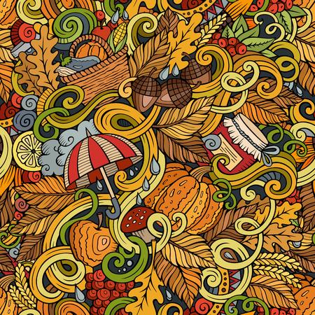arboles frutales: garabatos lindo dibujo animado dibujado a mano patrón de otoño transparente. Colorido detallado, con una gran cantidad de objetos de fondo. ilustración vectorial divertido sin fin. telón de fondo de color con símbolos y elementos de la estación de caída Vectores