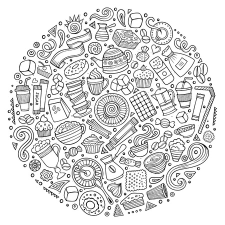teatime: Line art vector hand drawn set of Cafe cartoon doodle objects, symbols and items. Round composition Illustration