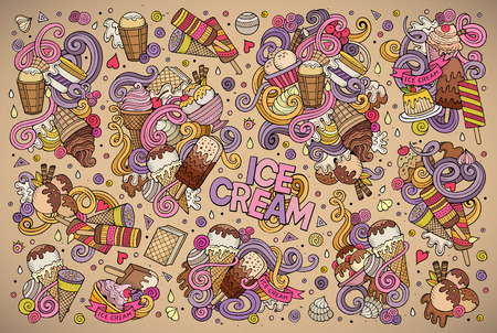 icecream: Colorful vector hand drawn doodle cartoon set of ice-cream objects and symbols designs