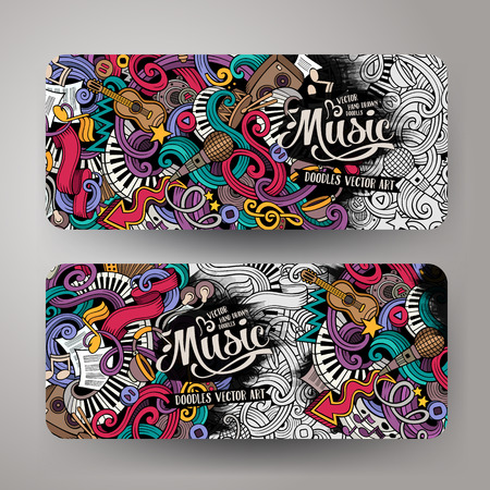 beat: Cartoon colorful vector hand drawn doodles music corporate identity.2 orizontal banners design. Templates set