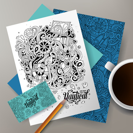 Cartoon cute sketchy hand drawn doodles Nautical corporate identity set. Templates design of business card, flyers, posters, papers on the table.