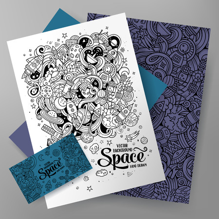 Cartoon cute line art vector hand drawn doodles Space corporate identity set. Templates design of business card, flyers, posters, papers on the table