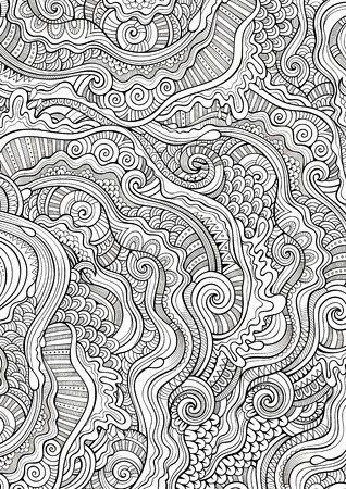 art background: Abstract sketchy decorative doodles hand drawn ethnic pattern. Contour detailed, with lots of lines background. Raster coloring illustration. Line art backdrop with nature, floral elements. Stock Photo