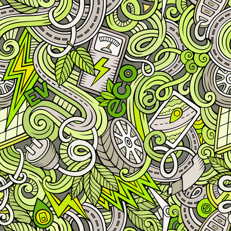 electric station: Cartoon cute doodles hand drawn Electric vehicle seamless pattern. Colorful detailed, with lots of objects background. Endless funny vector illustration. backdrop with eco cars symbols and items Illustration