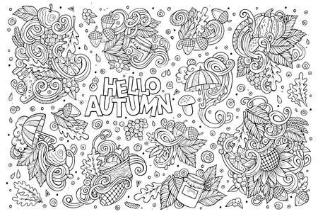 wet leaf: Line art vector hand drawn doodle cartoon set of Autumn theme items, objects and symbols