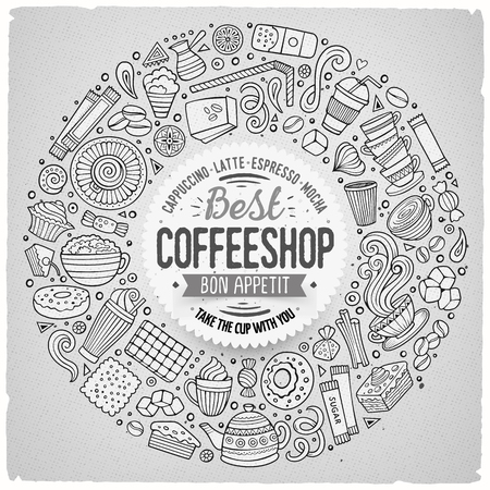 teatime: Line art vector hand drawn set of Coffee cartoon doodle objects, symbols and items. Round frame composition