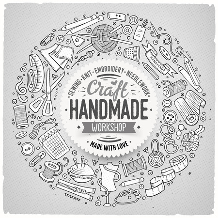 handicraft: Line art vector hand drawn set of Handmade cartoon doodle objects, symbols and items. Round frame composition