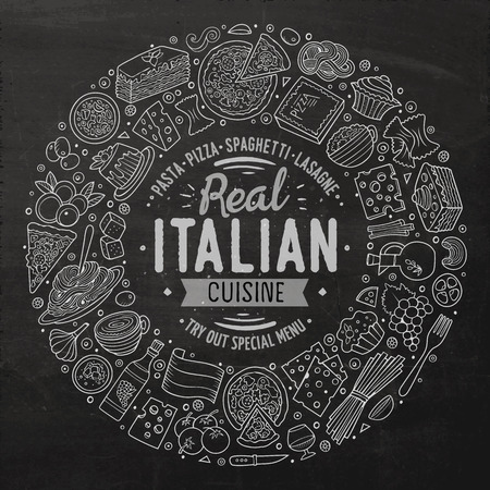 Chalkboard vector hand drawn set of Italian food cartoon doodle objects, symbols and items. Round frame composition Illustration