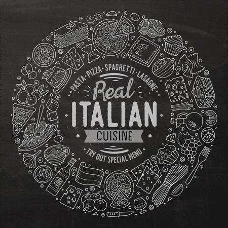 Pizarra vector dibujado a mano conjunto de italianos bosquejo de dibujos animados alimentos objetos, símbolos y elementos. Composición del marco de la Ronda