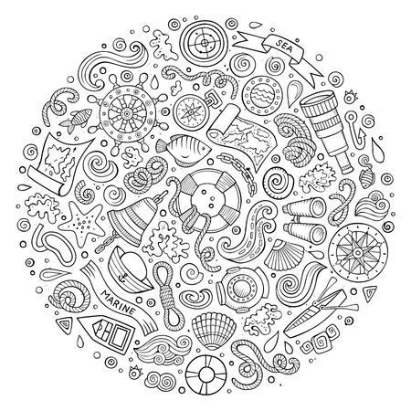 Line art vector hand drawn set of Marine, Nautical cartoon doodle objects, symbols and items. Round form composition