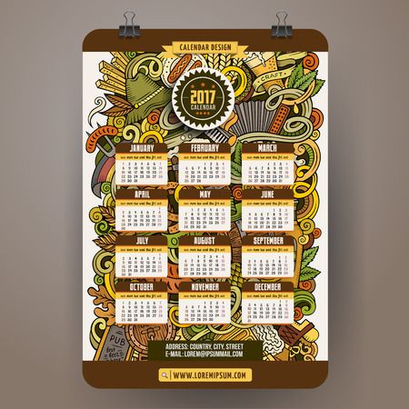 comida alemana: Cartoon colorful hand drawn doodles Octoberfest 2017 year calendar template. English, Sunday start. Very detailed, with lots of objects illustration. Funny vector artwork.