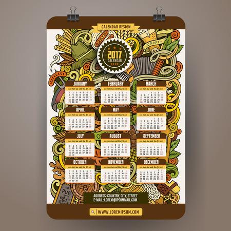 comida alemana: De dibujos animados de colores dibujados a mano garabatos Octoberfest plantilla de calendario 2017 años. Inglés, se inicia el domingo. Muy detallado, con una gran cantidad de objetos de ilustración. obra divertida del vector.