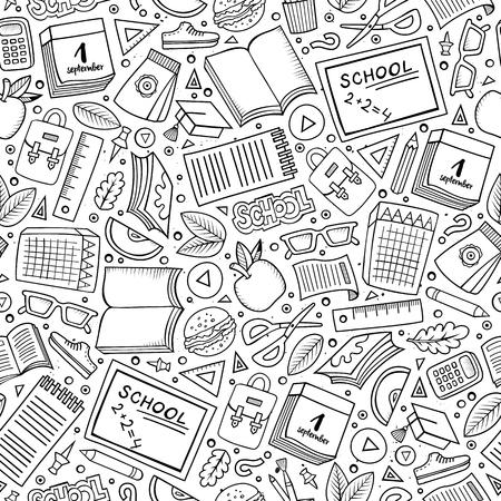 calendario escolar: Dibujos animados dibujados mano linda Ciencia patrón transparente. dibujos detallados, con una gran cantidad de objetos de fondo. ilustración vectorial divertido sin fin. telón de fondo científica incompleto.