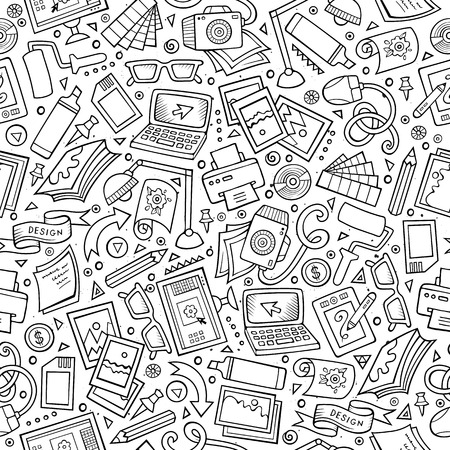 Cartoon cute hand drawn Design seamless pattern. Line art detailed, with lots of objects background. Endless funny vector illustration. Sketchy graphic designer backdrop.