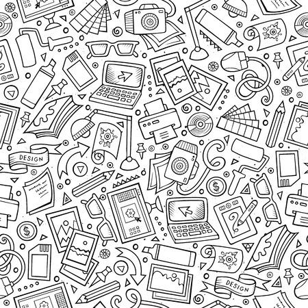 Dibujos animados dibujados mano linda diseño sin patrón. dibujos detallados, con una gran cantidad de objetos de fondo. ilustración vectorial divertida sin fin. Incompleta del contexto diseñador gráfico. Foto de archivo - 62017730
