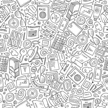 Vector pattern: Hoạt hình dễ thương vẽ tay Du lịch kiểu liền mạch. dòng nghệ thuật chi tiết, với nhiều nền đối tượng. Endless vui vector minh họa. Sài bối cảnh kế hoạch du lịch. Hình minh hoạ
