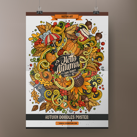 arboles frutales: Dibujos animados dibujado a mano de la historieta doodles Plantilla del cartel del otoño. Muy detallado, con una gran cantidad de objetos ilustración. Ilustraciones divertidas del vector. Diseño de identidad corporativa.