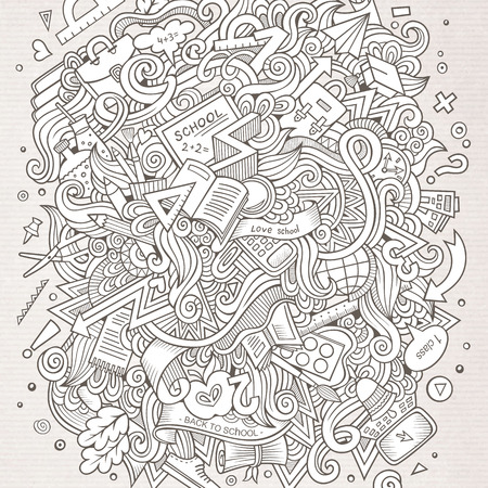 hand drawn: Cartoon cute doodles hand drawn School illustration. Line art detailed, with lots of objects background. Funny vector artwork. Sketchy picture with education theme items.