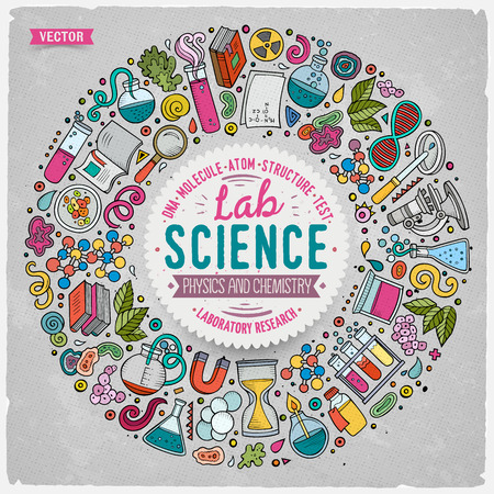 Colorful vector hand drawn set of Science cartoon doodle objects, symbols and items. Round frame composition