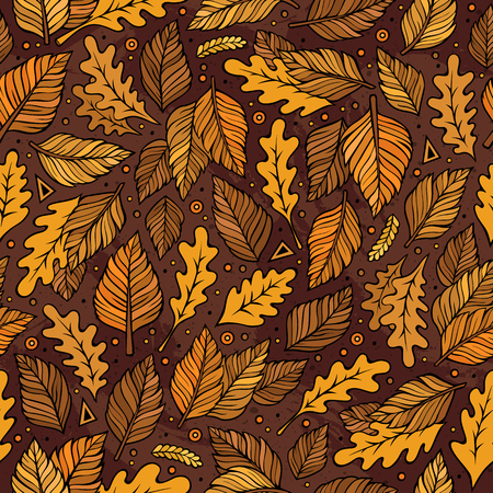 Cartoon cute hand drawn Autumn seamless pattern. Colorful detailed, with lots of objects background. Endless funny vector illustration. Bright colors fall backdrop. Illustration