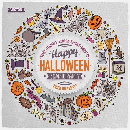 Colorful vector hand drawn set of Halloween cartoon doodle objects, symbols and items. Round frame composition