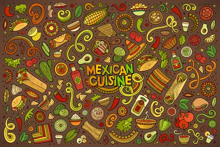 Vector de la mano de colores conjunto doodle de dibujos animados de artículos del tema de comida mexicana, objetos y símbolos Foto de archivo - 62270817