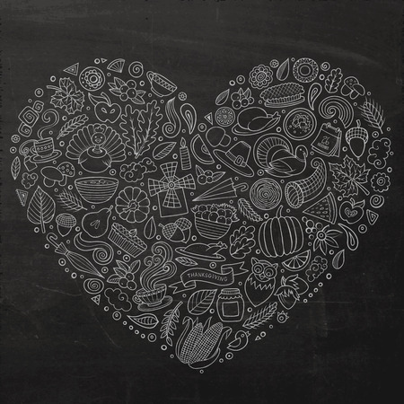 Chalkboard vector hand drawn set of Thanksgiving cartoon doodle objects, symbols and items. Heart form composition