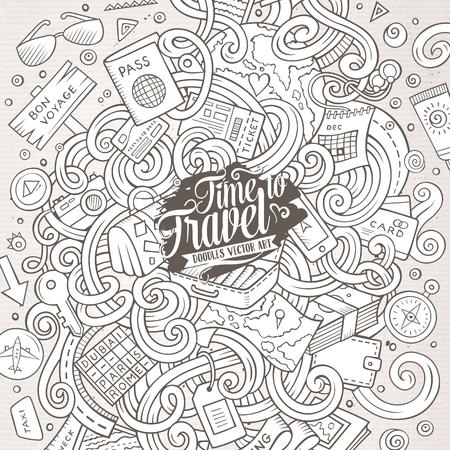 Cartoon griffonnages mignon dessiné à la main voyager illustration. Line art détaillé, avec beaucoup d'objets de fond. illustrations vectorielles drôle. photo Sketchy avec des articles thématiques de planification Voyage