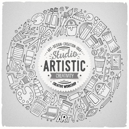 art supplies: Line art vector hand drawn set of Art cartoon doodle objects, symbols and items. Round frame composition