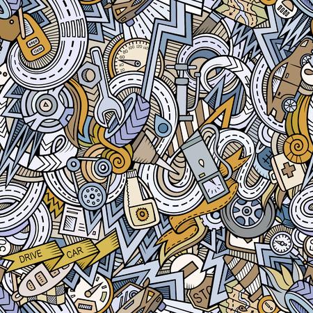 Von Hand gezeichnete Gekritzel der Karikatur bezüglich des nahtlosen Musters des Autoart-Themas. Vektor Hintergrund