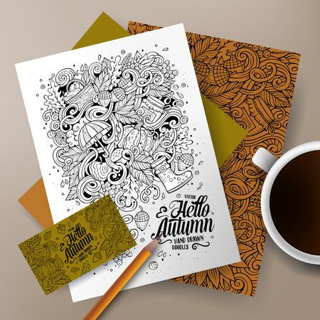 paper umbrella: Cartoon cute line art vector hand drawn doodles Autumn corporate identity set. Templates design of business card, flyers, posters, papers on the table.