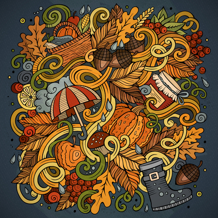 Cartoon cute doodles hand drawn autumn illustration. Colorful detailed, with lots of objects background. Funny vector artwork. Bright colors picture with fall season theme items Illustration