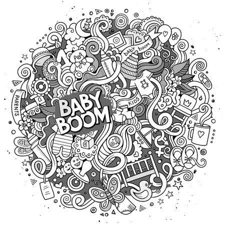pampers: Cartoon cute doodles hand drawn Baby illustration. Line art detailed, with lots of objects background. Funny vector artwork. Sketchy picture with children theme items