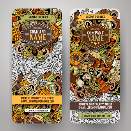 grano de cafe: Cartoon colorful vector hand drawn doodles cafe corporate identity. 2 Vertical banners design. Templates set
