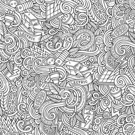 zero emission: Cartoon cute doodles hand drawn Electric vehicle seamless pattern. Line art detailed, with lots of objects background. Endless funny vector illustration. Contour backdrop with eco cars symbols and items Illustration