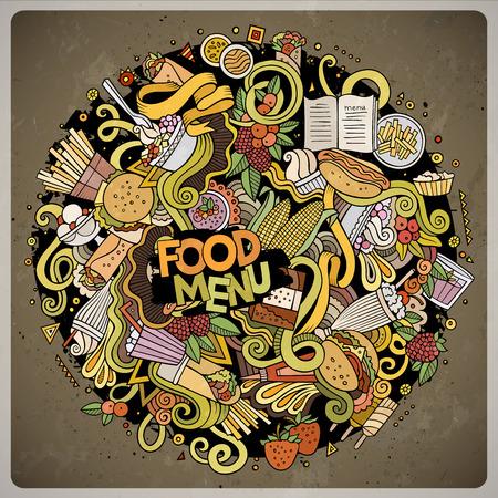 fastfood: Cartoon nguệch ngoạc dễ thương vẽ tay Fastfood minh họa. Đầy màu sắc chi tiết, với nhiều nền đối tượng. vector tác phẩm nghệ thuật hài hước. màu sắc hình ảnh tươi sáng với các mặt hàng chủ đề thức ăn nhanh Hình minh hoạ